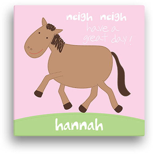 "Sandra Magsamen Personalized Horse Canvas Wall Art, 16"" x 16"", Pink"
