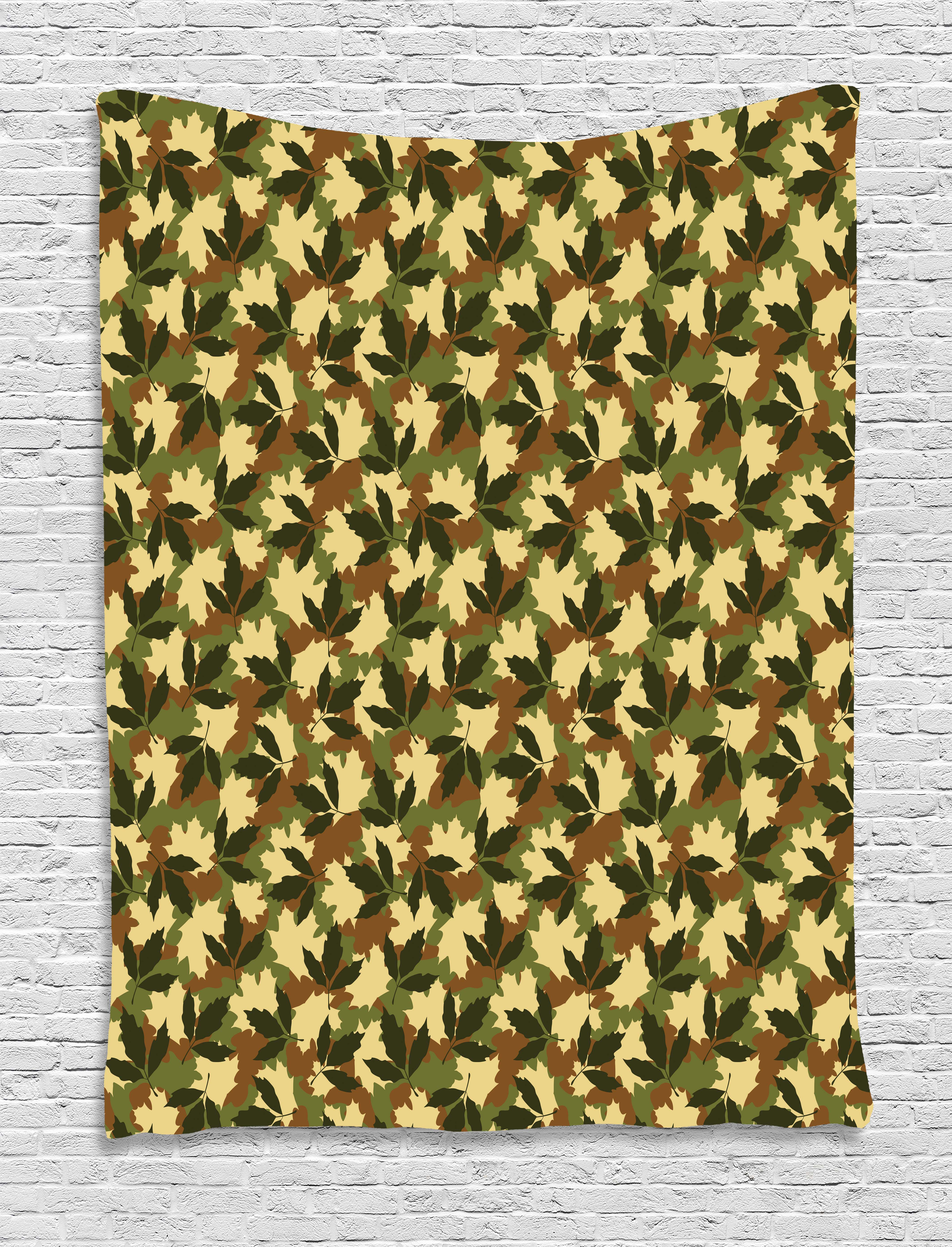 Forest Green Tapestry, Leafage Pattern With Military Army Theme Camo Style  Forest Woodland Hiding,