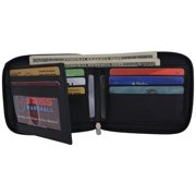 Swiss Marshall Men's Zipper RFID Blocking Premium Leather Zip-Around ID Bifold Wallet