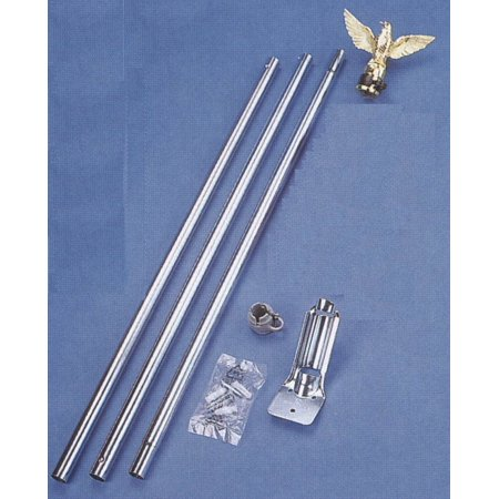 Gold Eagle Topper Flag Pole Set Aluminum 6 Foot with Wall Mount Outdoor New ()