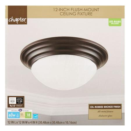 "Chapter 12"" LED Decorative Flush-Mount Ceiling Fixture, Oil-Rubbed Bronze"