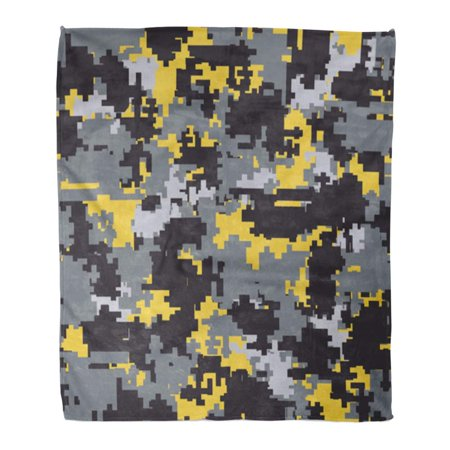 ASHLEIGH Throw Blanket Warm Cozy Print Flannel Yellow Camo Digital Pixel Camouflage Patterns Gray Camoflage Comfortable Soft for Bed Sofa and Couch 58x80 - Soda Camo