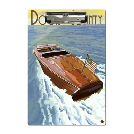 Door County, Wisconsin - Wooden Boat - Lantern Press Artwork (Acrylic Clipboard)