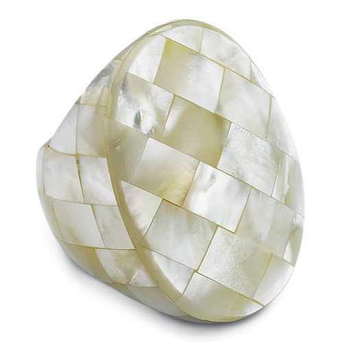 Palm Beach Jewelry Oval Shaped Mother of Pearl Ring