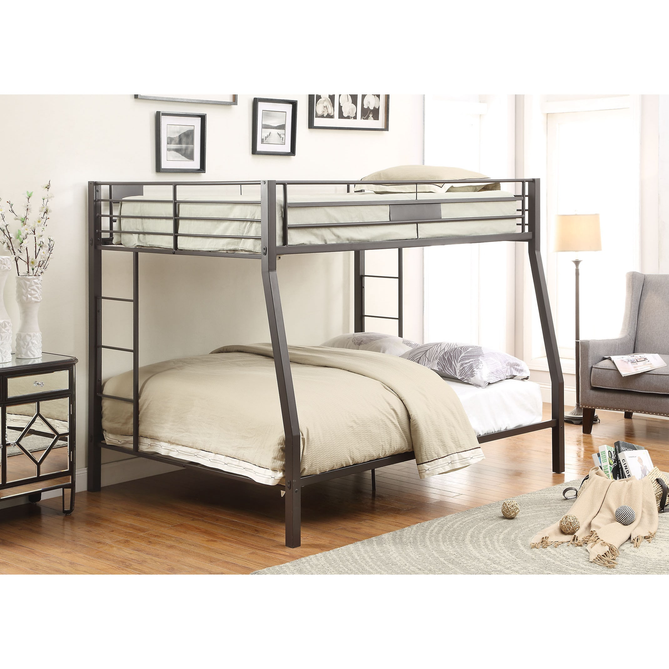 Acme Limbra Full Xl Over Queen Bunk Bed In Sandy Black Multiple
