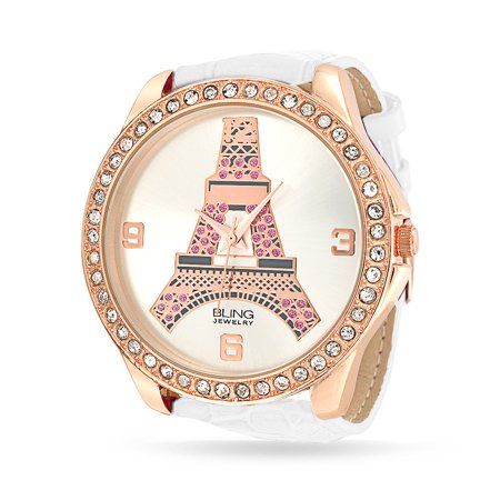 Large Round White Dial Crystal Bezel Rose Gold Plated Eiffel Tower Paris Watch For Teen For Women White Leather (Bezel Gunmetal Black Leather)