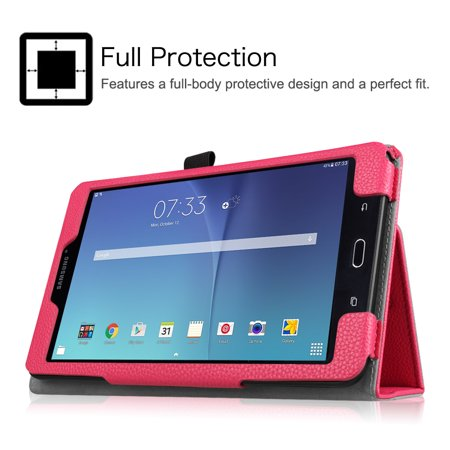 check out edbbf f18ed Fintie Folio Case for Samsung Galaxy Tab E 8.0 Tablet - Slim Fit Premium  Vegan Leather Stand Cover, Magenta