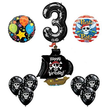 Black Pirate Ship 3rd Birthday Party Supplies and Balloon Decorations - Pirate Balloons