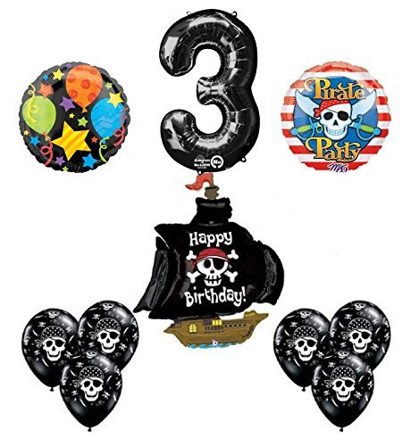 Black Pirate Ship 3rd Birthday Party Supplies and Balloon Decorations