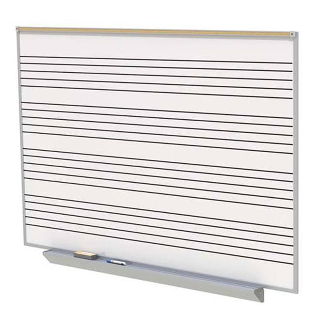 Ghent Manufacturing GA2M48-MS 48.5 x 96.5 in. A2M Style Porcelain Magnetic Whiteboard with Music Staff, 4 Markers & Eraser