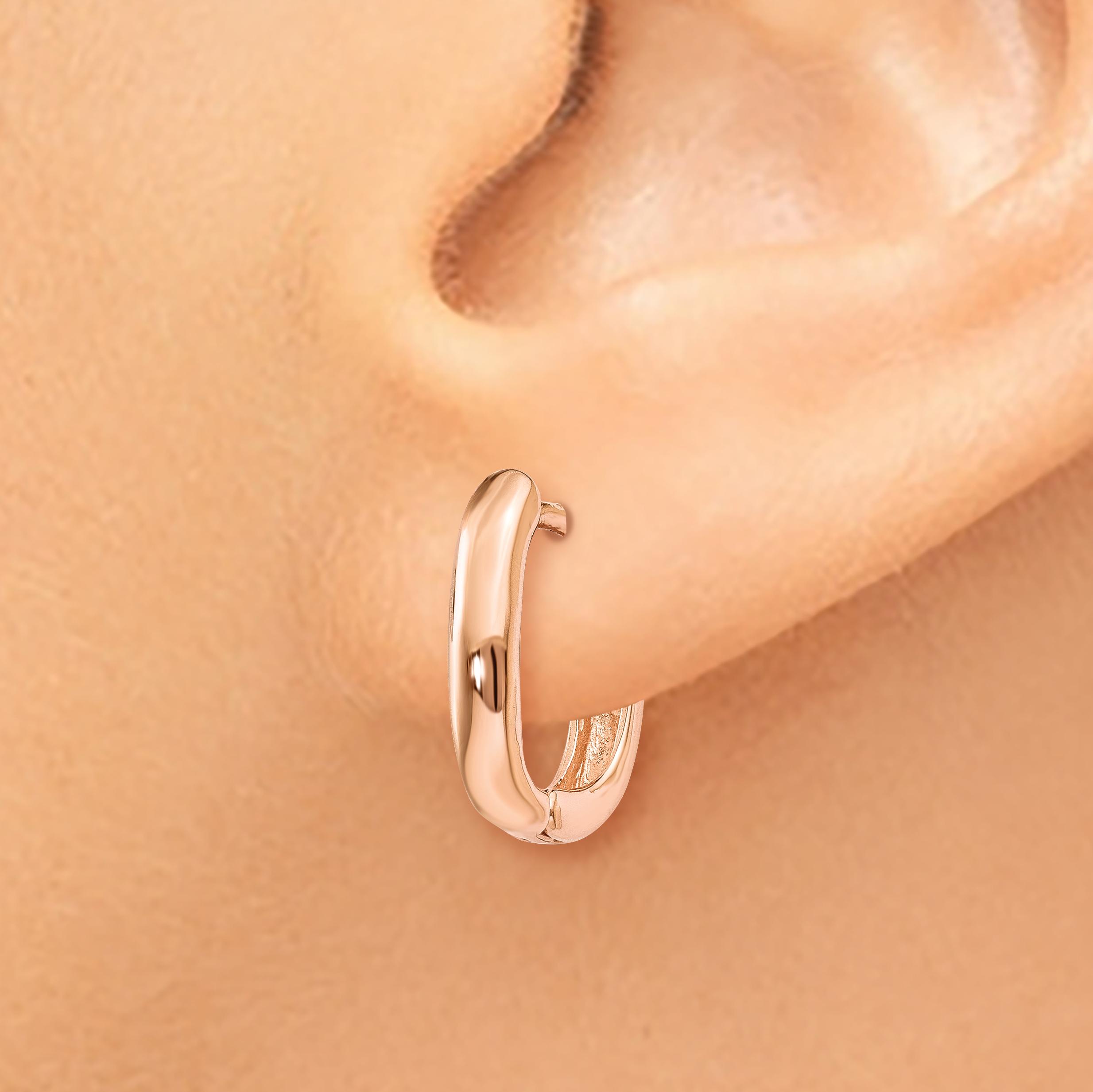 14k Rose Gold Oval Hinged Hoop Earrings Ear Hoops Set Fine Jewelry Gifts For Women For Her - image 3 de 4