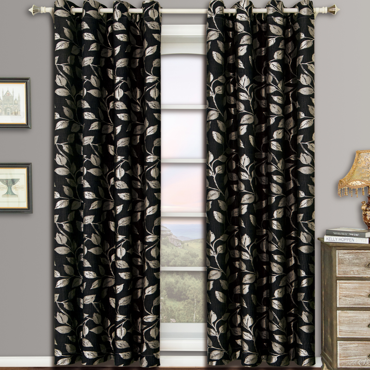 Charlotte Pair (Set of 2) Jacquard Grommet Top Curtain Panels - 104x63 - Black