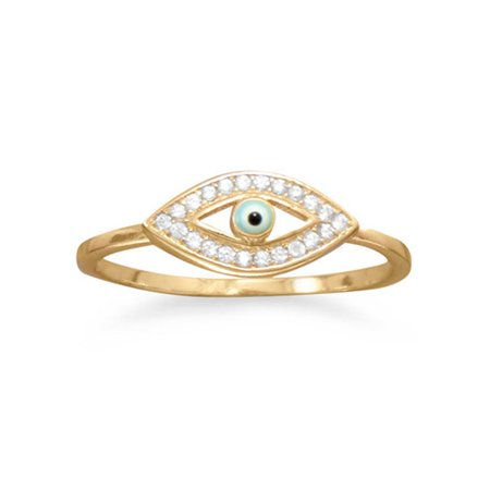 eb3c9f1a40bd93 AzureBella Jewelry - Evil Eye Ring Gold-plated Sterling Silver with Cubic  Zirconia Accents - Walmart.com
