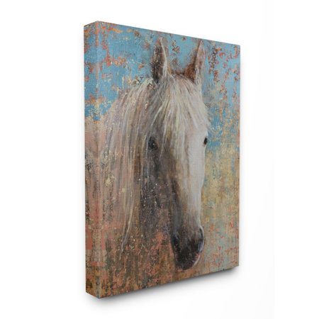 The Stupell Home Decor Collection White Horse Portrait Distressed Surface Blue Painting Canvas Wall -
