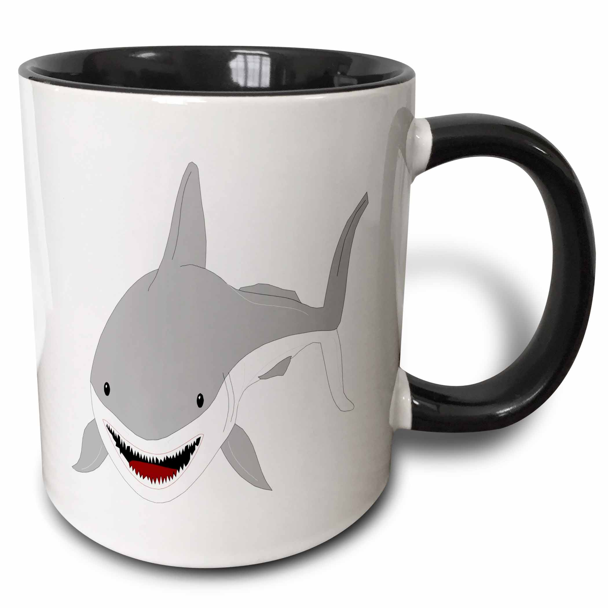 3dRose Cute Kids Shark Art - Two Tone Black Mug, 11-ounce