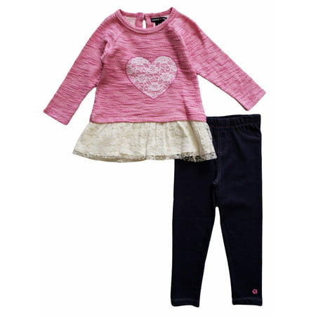 Limited Too Long Sleeve Lace Heart French Terry Peplum Top & Knit Denim Jeans, 2pc Outfit Set (Toddler Girls)