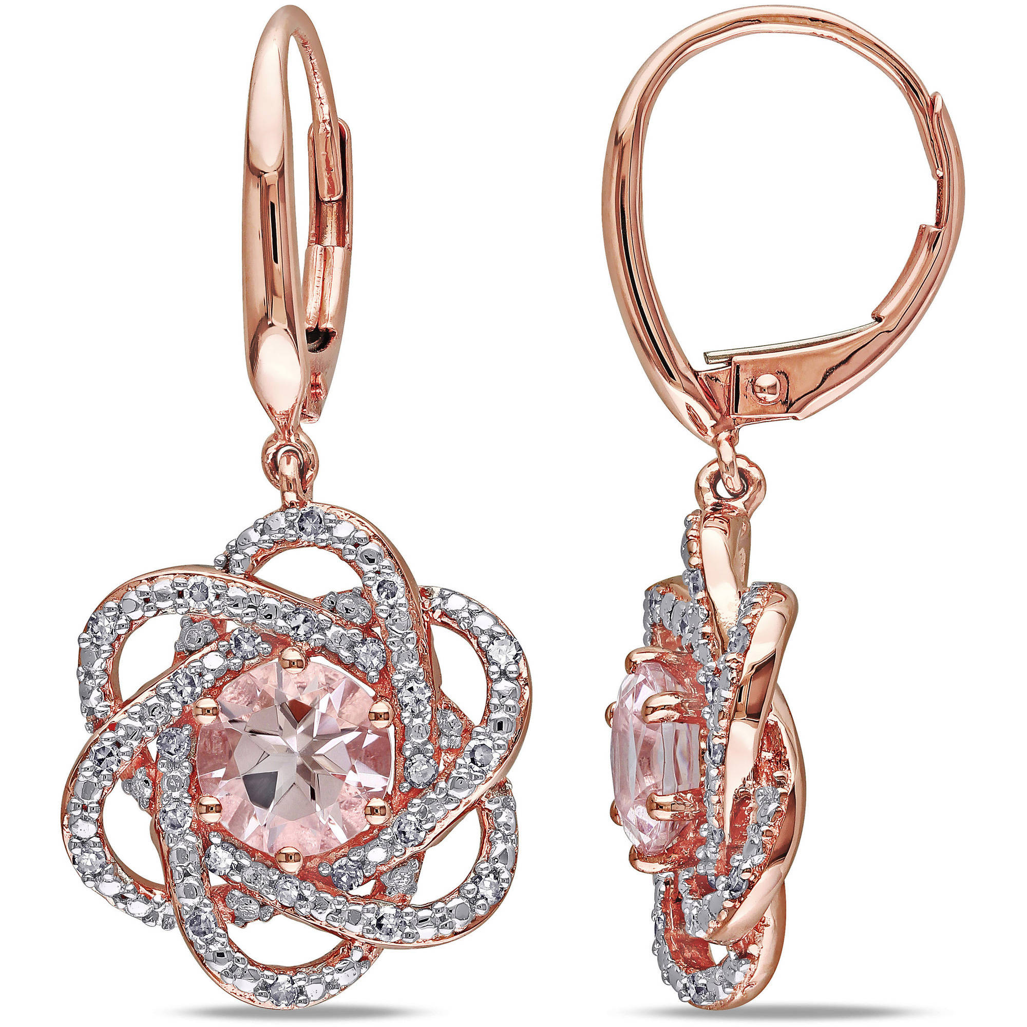 Tangelo 1-3/4 Carat T.G.W. Morganite and 1/4 Carat T.W. Diamond 10kt Rose Gold Leverback Dangle Earrings