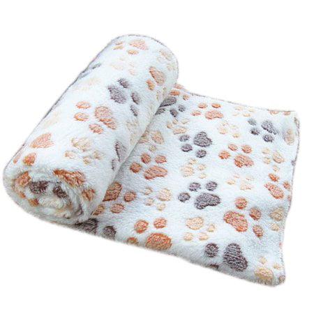 Soft Fleece Pet Dog Puppy Kitten Warm Blanket Sleep Bed Mat with Paw Print Animal