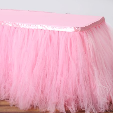 Efavormart 17FT FULL SIZE 8 Layer Fluffy Tulle - Tutu Table Skirt for Kitchen Dining Catering Wedding Birthday Party Decorations - Pink Tutu Table Skirt