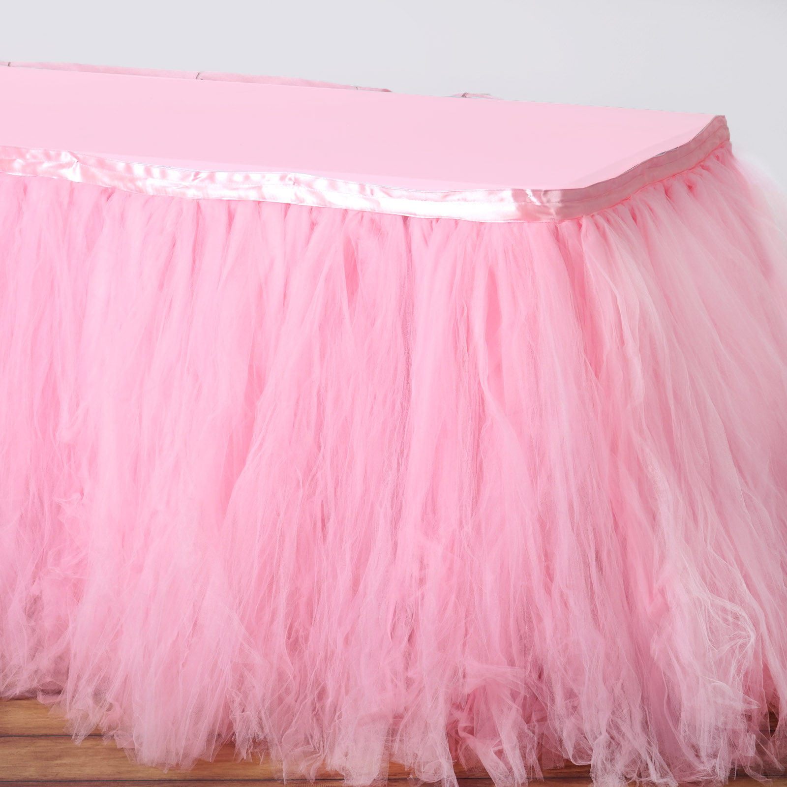 Efavormart 17FT FULL SIZE 8 Layer Fluffy Tulle - Tutu Table Skirt for Kitchen Dining Catering Wedding Birthday Party Decorations