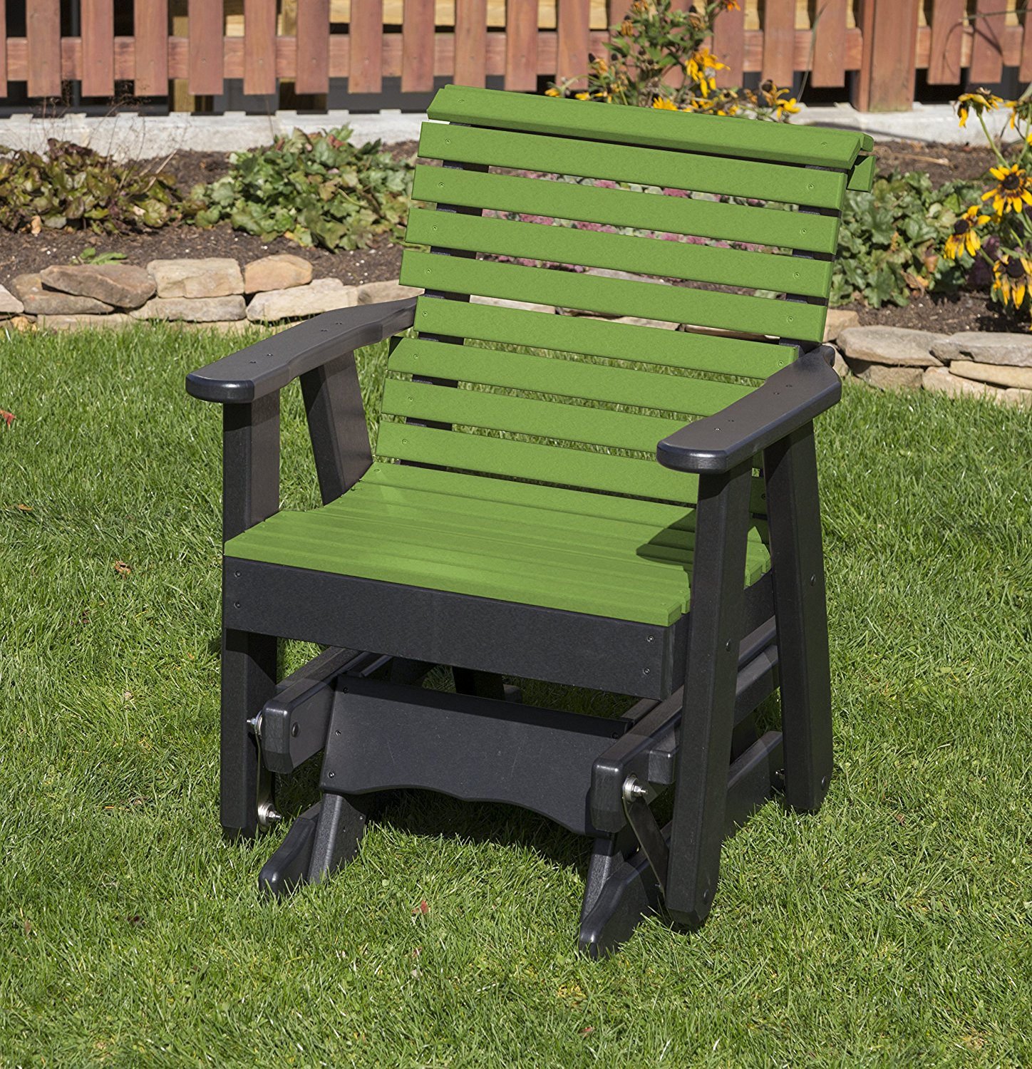 Outdoor Patio Garden Lawn Exterior Tropical Lime Green Finish Poly Lumber Roll Back 2 Ft Glider Everlasting Amish Crafted