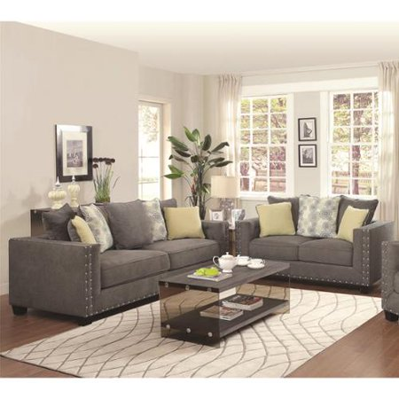 Cdecor calvin button 2 piece living room set for Living room 5 piece sets