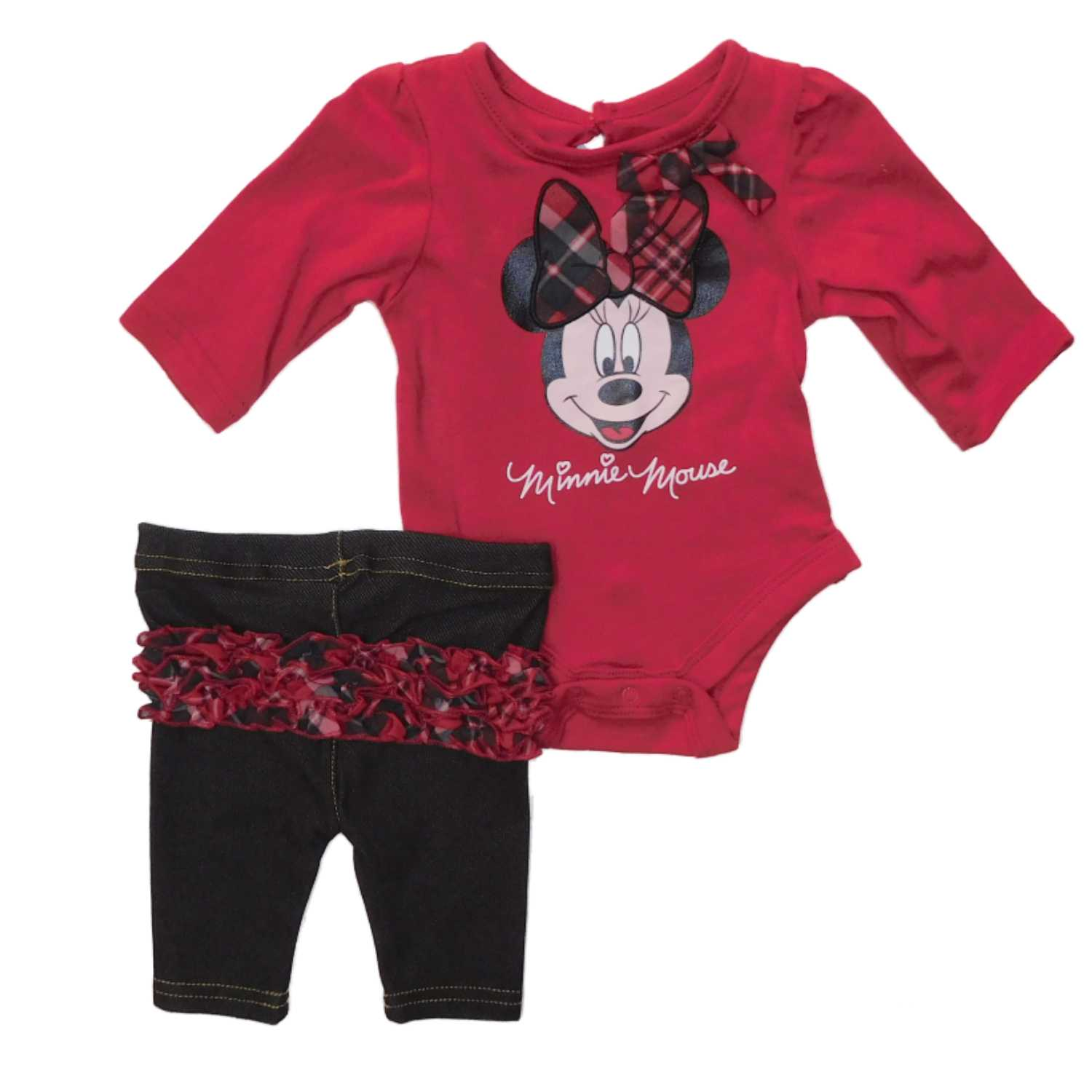 Disney Infant Girl Minnie Mouse Plaid Bow Red Bodysuit Creeper Ruffle Legging