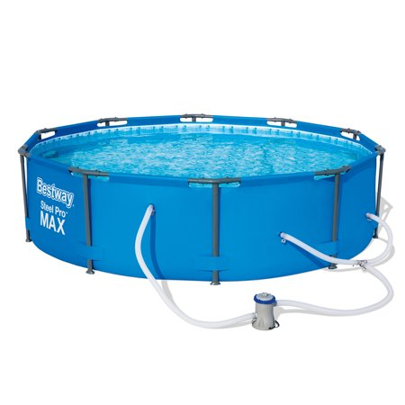 Bestway 10 Feet x 30 Inches Steel Pro Frame Round Above Ground Swimming Pool