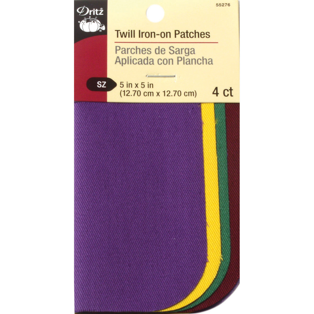 "Iron-On Twill Patches 5"" x 5"" 4pk, School Colors"