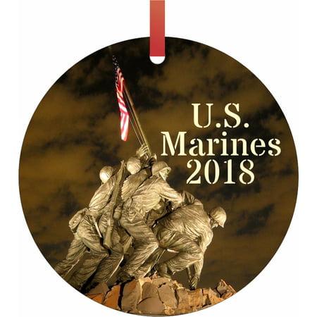 U.S. Marines 2018 Semigloss Flat Round Shaped Ornament Xmas Tree Christmas Décor - Christmas Room Décor and Ornament Yard Decorations ()