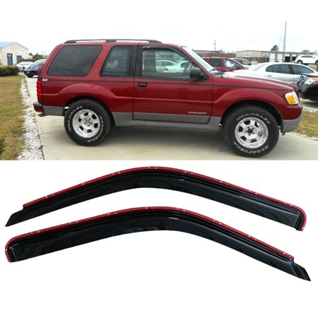 All American Auto Dark Smoke Acrylic Side Window Deflector/Visor 2-Piece Set for 2001-2005 Ford Explorer Sport (All Side Windows)