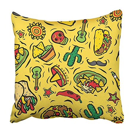 CMFUN Colorful Taco Super Mexican Food and Objects Red Dip Guacamole Chips Burrito Pillowcase Cushion Cover 20x20 inch
