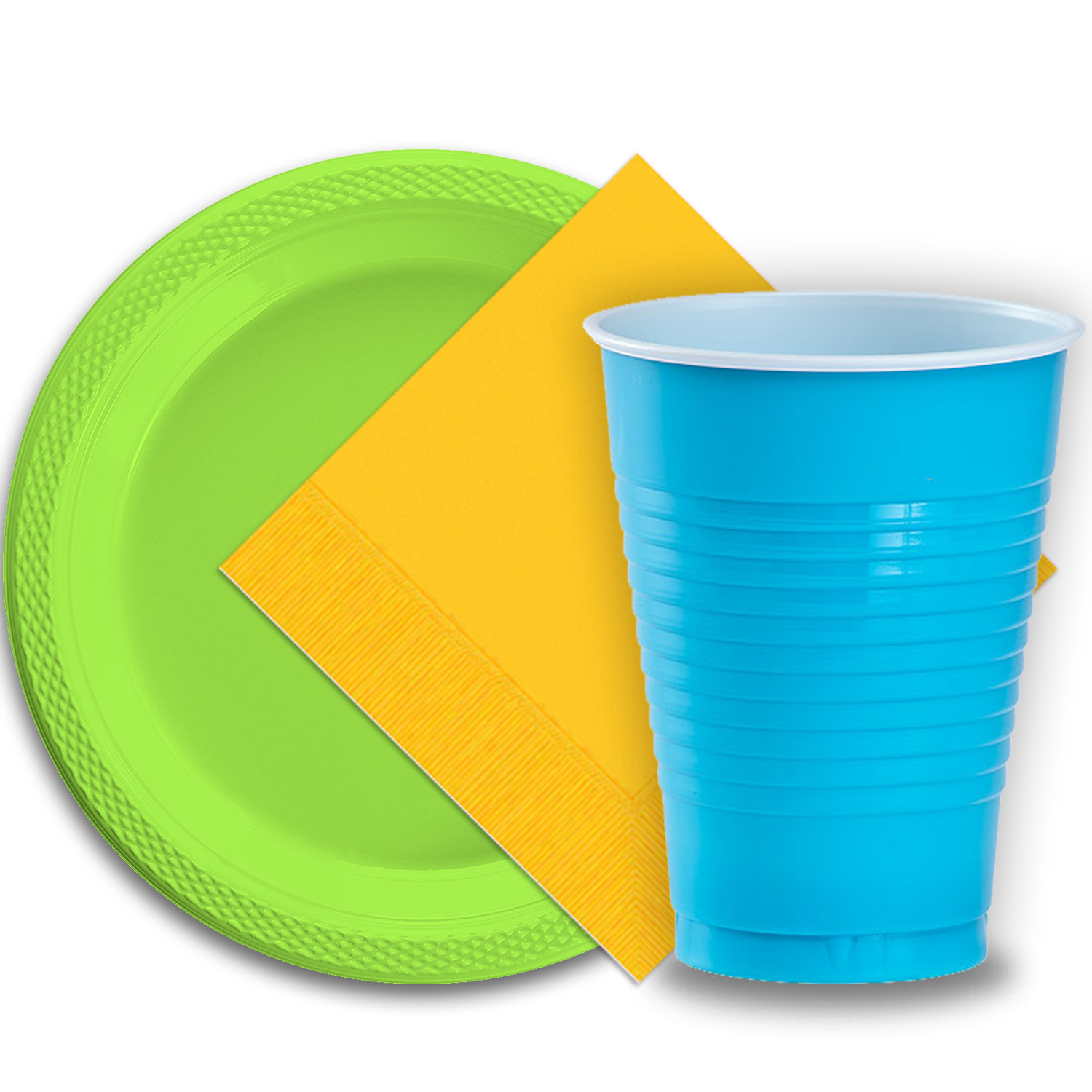 """50 Lime Green Plastic Plates (9""""), 50 Aqua Plastic Cups (12 oz.), and 50 Yellow Paper Napkins, Dazzelling Colored Disposable Party Supplies Tableware Set for Fifty Guests."""