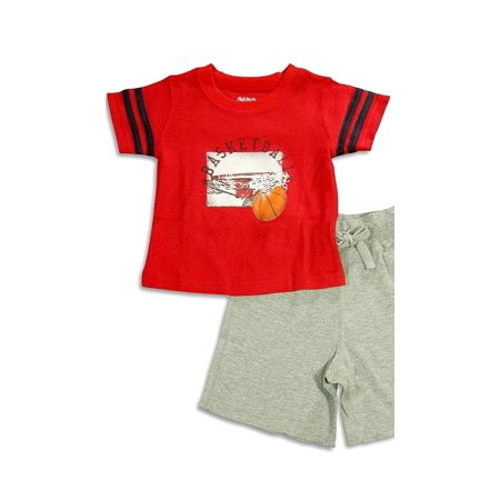 Wes And Willy Sleepwear - Baby Boys Short Sleeve Basketball Shortie Pajamas GRAY / 24 (Wes And Willy Boys Clothing)