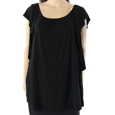 INC NEW Black Womens Size XL Solid Ruffle Trim Scoop Neck Knit Top