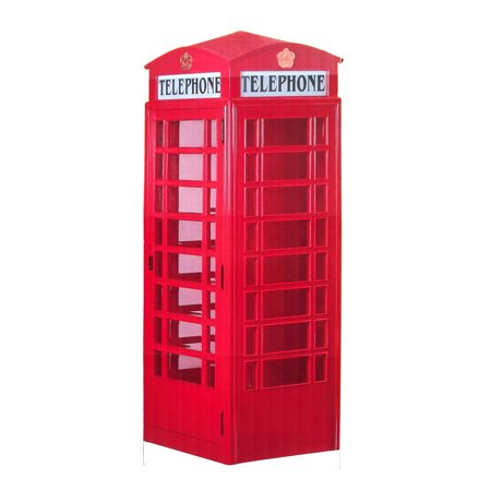 Aahs Engraving Red British Phone Booth Cardboard Standup, 7 feet