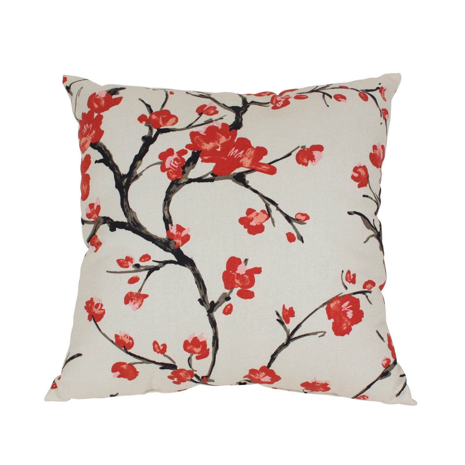 Pillow Perfect Decorative Beige and Red Flowering Branch Square Toss Pillow by Pillow Perfect