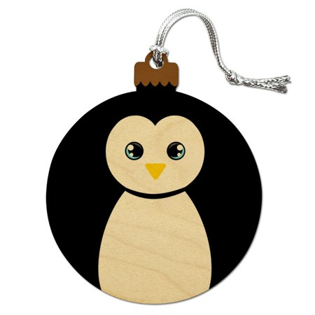Cute Penguin Black and White Wood Christmas Tree Holiday Ornament - Holiday Penguin