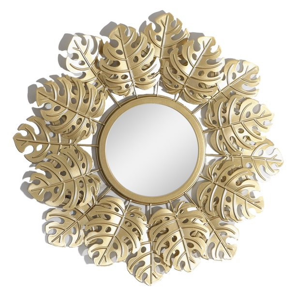 Hanging Wall Mirror Round Decorative Wall Mirror Golden ...