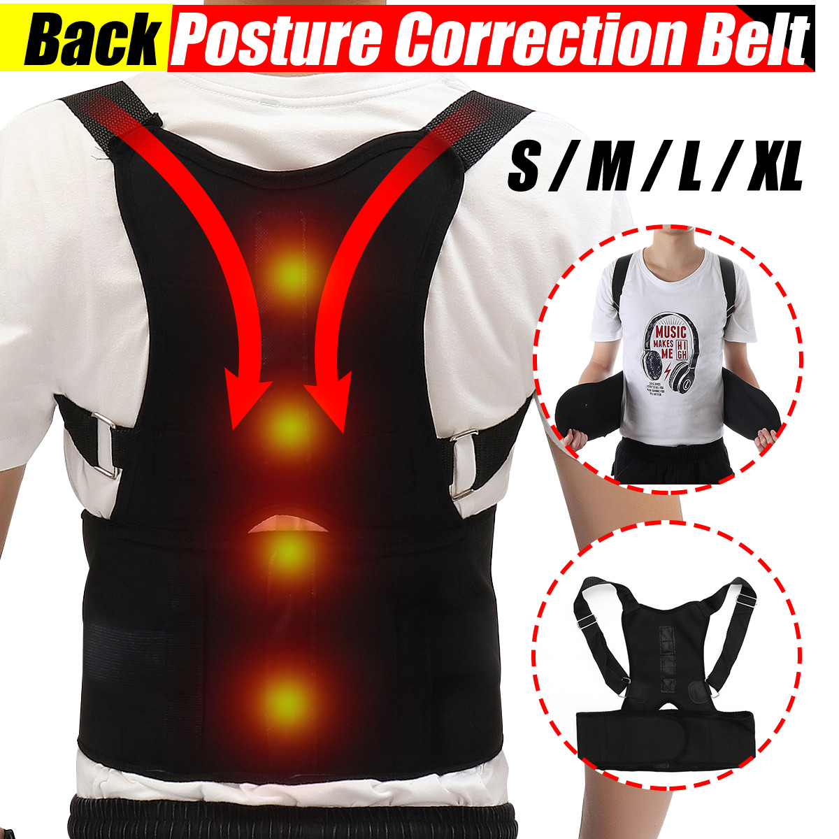 Adjustable Therapy Magnetic Back Waist Support Posture Corrector Belt Band Brace Shoulder Lumbar & Lower Back Support Belt Brace Strap Pain Relief Posture Waist Trimmer
