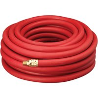"Amflo 552-50AE 50' x 3/8"" Red Rubber Air Hose, 1/4 Fittings"