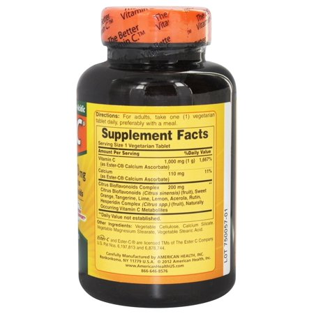 American Health Ester-C with Citrus Bioflavonoids - 1000 mg - 120 Vegetarian Tablets ...