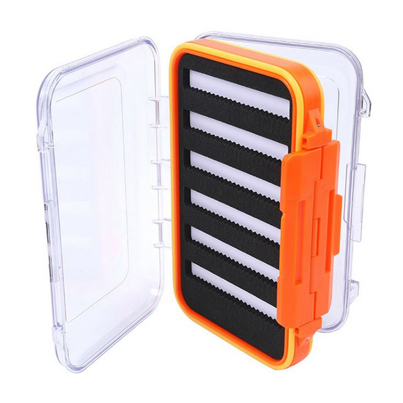 Waterproof Plastic Fly Storage Box Double Side Slit Foam Fly Fishing Tackle Box Color:orange by