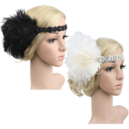 1920s Headpiece Headband Feather 20's Bridal Great Gatsby Flapper Gangster Hair Hoop - Gatsby Themed Prom Hair