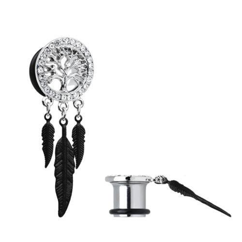Ear Gauges Dangling Tree Of Life Ear Plugs With CZ Gems Pair