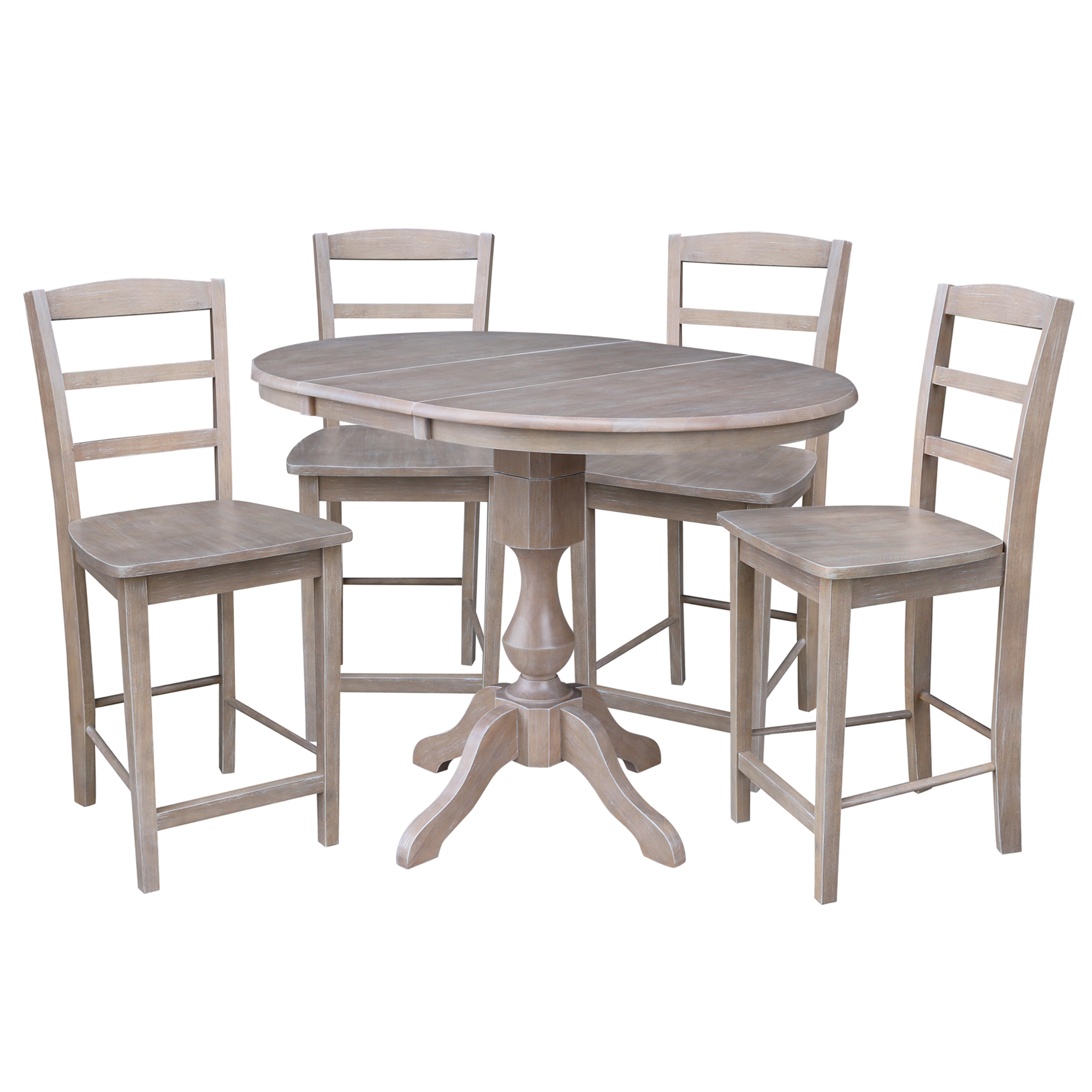 "36"" Round Extension Dining Table with Two Stools - Washed Gray Taupe"