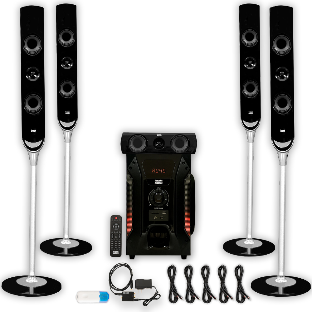 Acoustic Audio AAT1000 Tower 5.1 Speaker System with USB Bluetooth Optical Input and 5