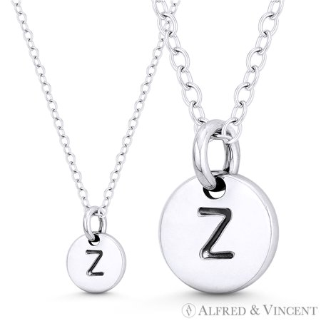 "Initial Letter ""Z"" Engraved Tiny 11x8mm (0.4""x0.3"") Circle Pendant & Chain Necklace in .925 Sterling Silver"
