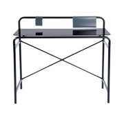 HOMYCASA Black TemperGlass Industrial Retro Writing Desk Computer Table Metal WorkStation For Teens Students