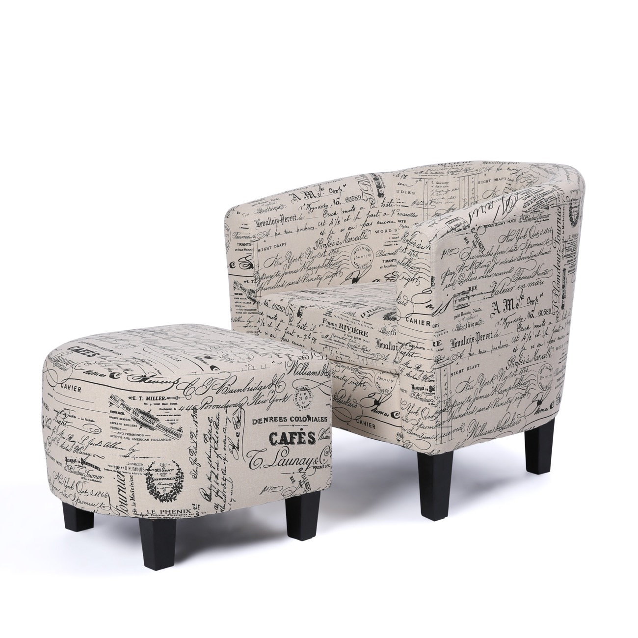 Belleze Accent Tub Chair Curved Back French Print Script Linen Fabric w/ Ottoman Modern Stylish Round Armrest, Beige